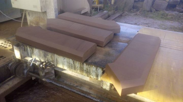 Some red sand stone corner copping stones ready for collection. Only another 39 metres to make. North Wales, North West, Wirral, Liverpool & Cheshire UK