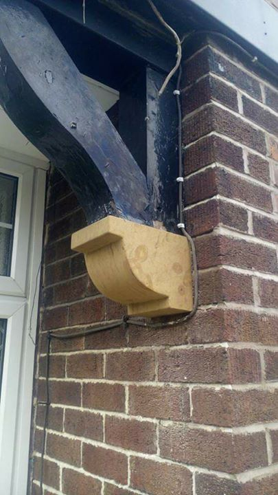 A single replacement sand stone corbel. North Wales, North West, Wirral, Liverpool & Cheshire UK