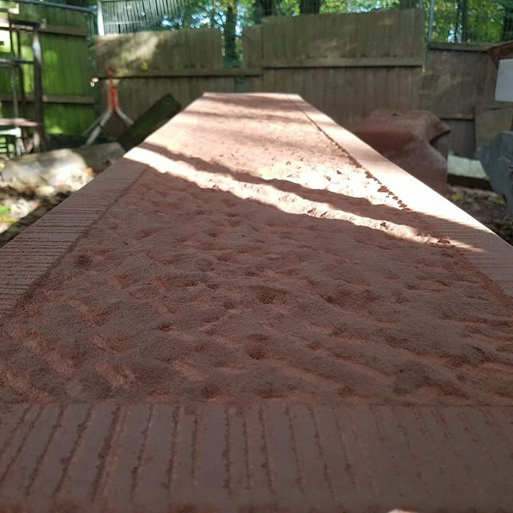 Some fantastic hand tooled red sandstone by our stone mason. North Wales, North West, Wirral, Liverpool & Cheshire UK