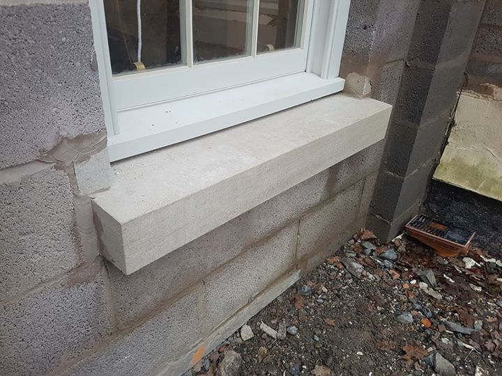 Limestone window cills produced and installed on a manour house renovation. North Wales, North West, Wirral, Liverpool & Cheshire UK
