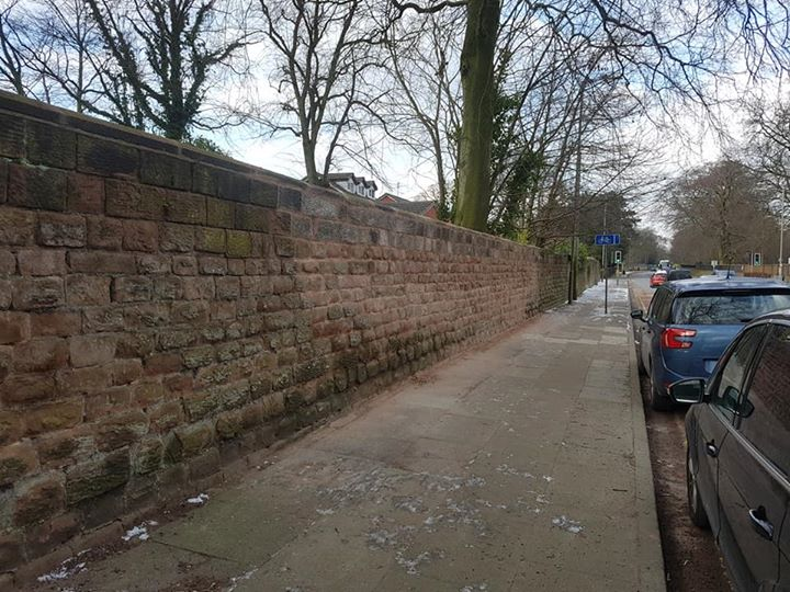 Our Liverpool sandstone wall rebuild after falling down. North Wales, North West, Wirral, Liverpool & Cheshire UK