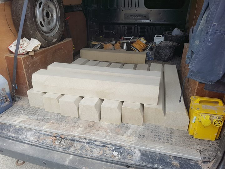 Another delivery of sandstone cills ready for delivery for a office development. North Wales, North West, Wirral, Liverpool & Cheshire UK