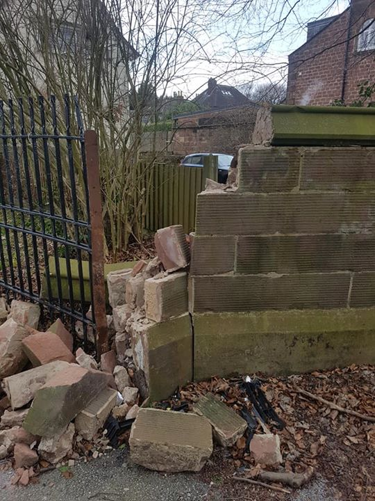 Preparing for our next insurance job in Liverpool repairing a red sandstone wall that was hit by a car recently in the bad snow. North Wales, North West, Wirral, Liverpool & Cheshire UK