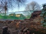Busy today in heswall today rebuilding red sandstone walls North Wales, North West, Wirral, Liverpool & Cheshire UK