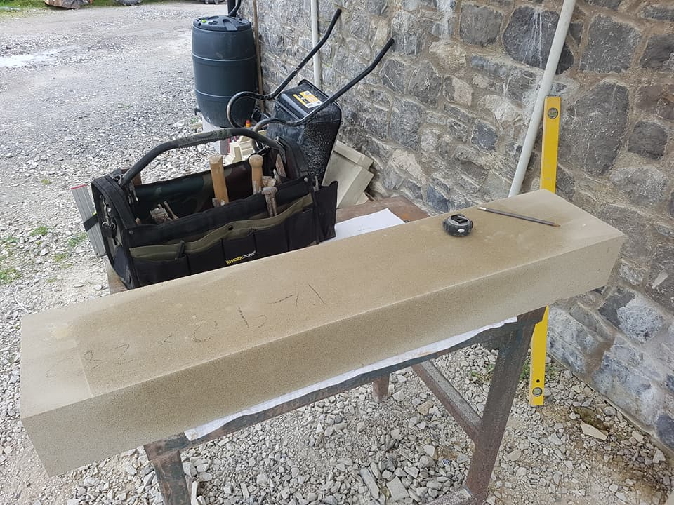 The process of carving a sandstone fireplace. Here we have formed the head with a suttle corner moulding to help bring a visual effect of the head being larger than it is. North Wales, North West, Wirral, Liverpool & Cheshire UK