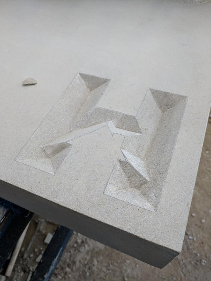From design to the work in progress on our sandstone entrance sign for our client in Chester. North Wales, North West, Wirral, Liverpool & Cheshire UK
