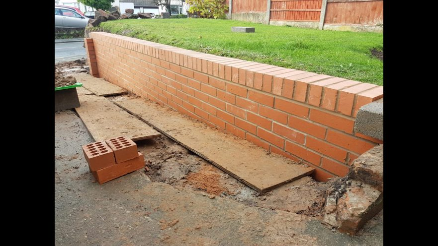 Garden Wall Back Up Helping The Customer Gain An Extra Two Foot Of