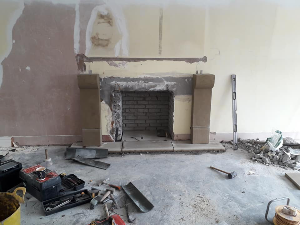 Another lime stone fire surround installation this weekend in Liverpool. North Wales, North West, Wirral, Liverpool & Cheshire UK