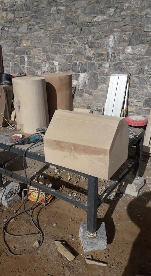 Bust day producing some sandstone columns for a customer in Wigan today. North Wales, North West, Wirral, Liverpool & Cheshire UK