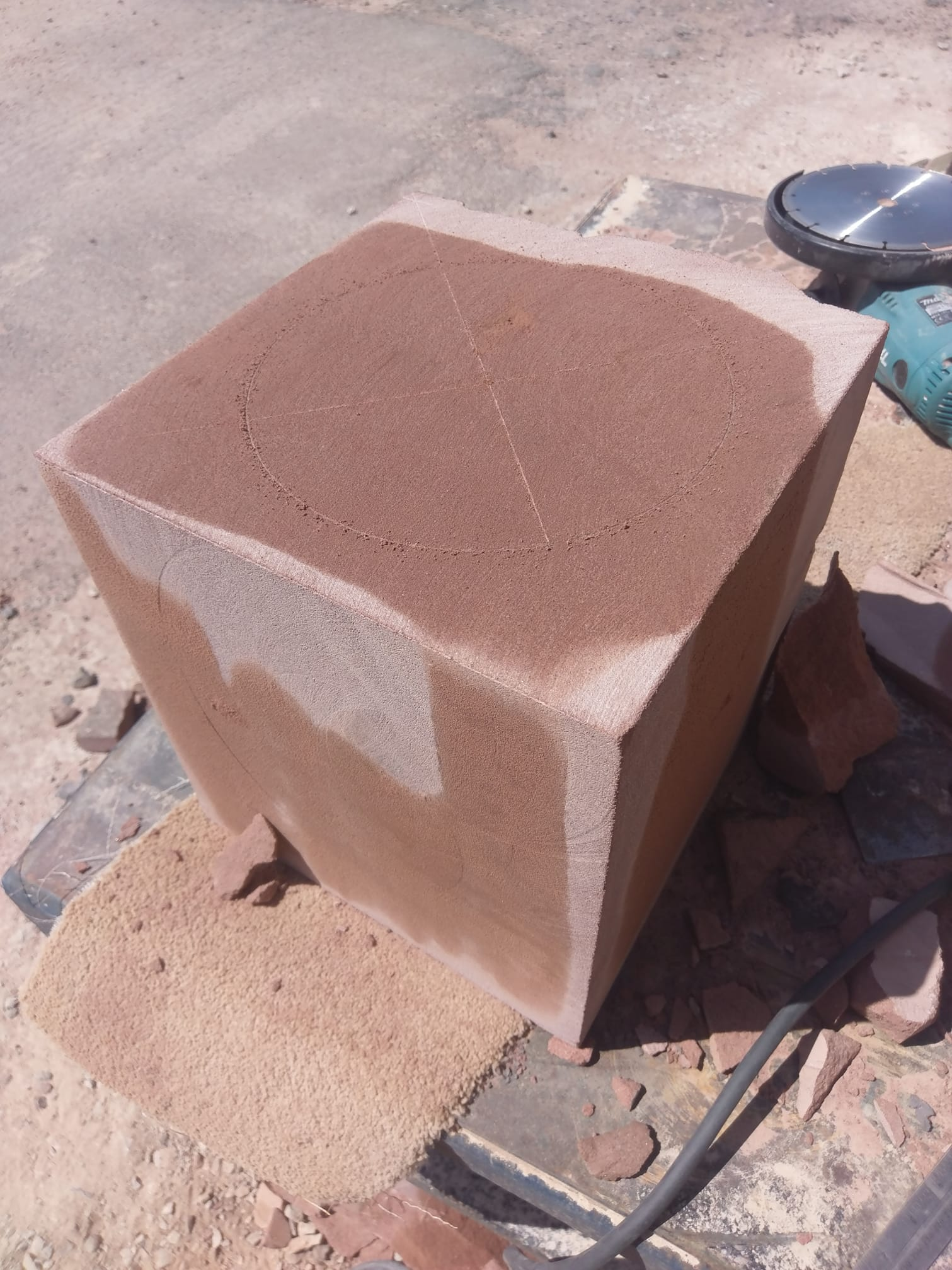 A Cheshire red stone carving replacement for a porch in Sefton park. North Wales, North West, Wirral, Liverpool & Cheshire UK