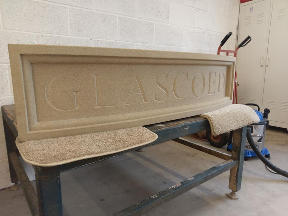 Our recently finished sandstone sign ready for deliveryand installation in a north Wales property being restored. North Wales, North West, Wirral, Liverpool & Cheshire UK