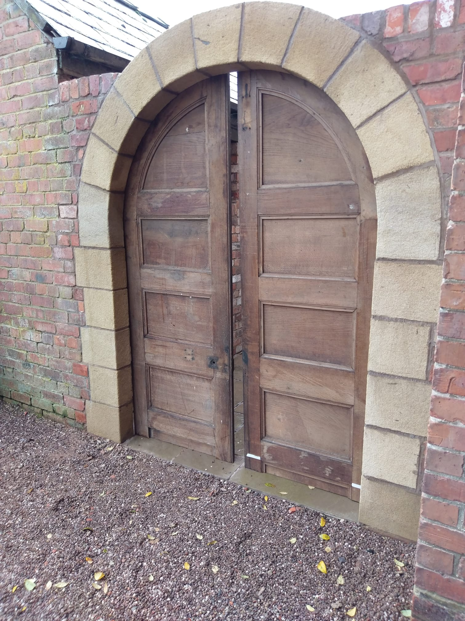 Site meeting today in Chester with the delivered oak doors for our sandstone door way. North Wales, North West, Wirral, Liverpool & Cheshire UK