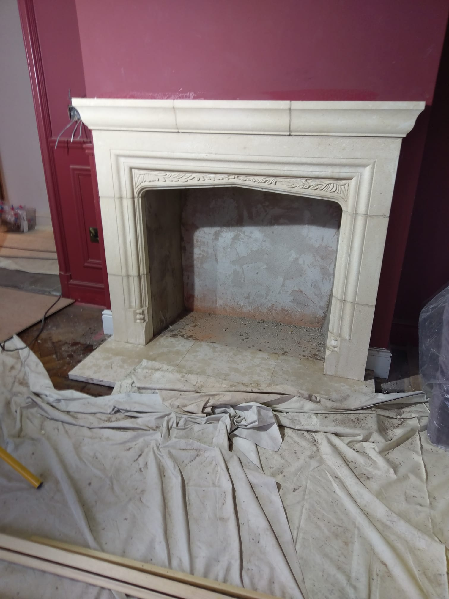 Busy day in Chester putting some finishing touches ont this bath stone fire surround. North Wales, North West, Wirral, Liverpool & Cheshire UK