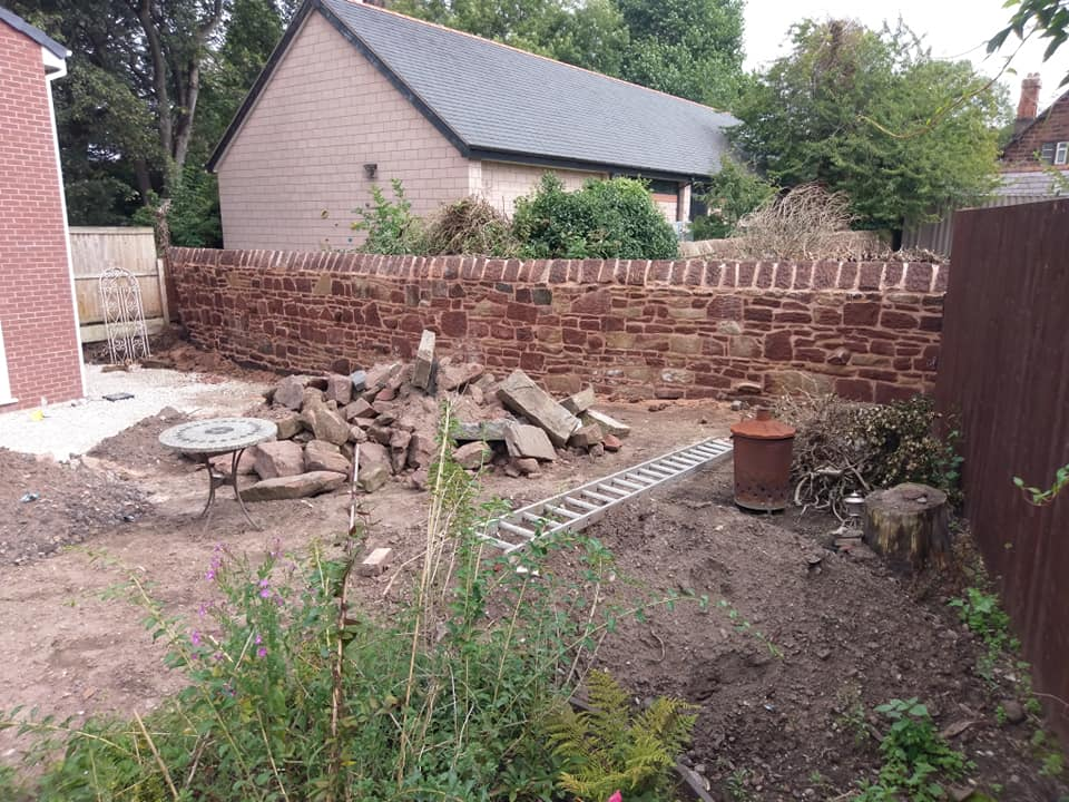 A before and after of a Cheshire red sandstone wall we recently restored for a client on the wirral. North Wales, North West, Wirral, Liverpool & Cheshire UK