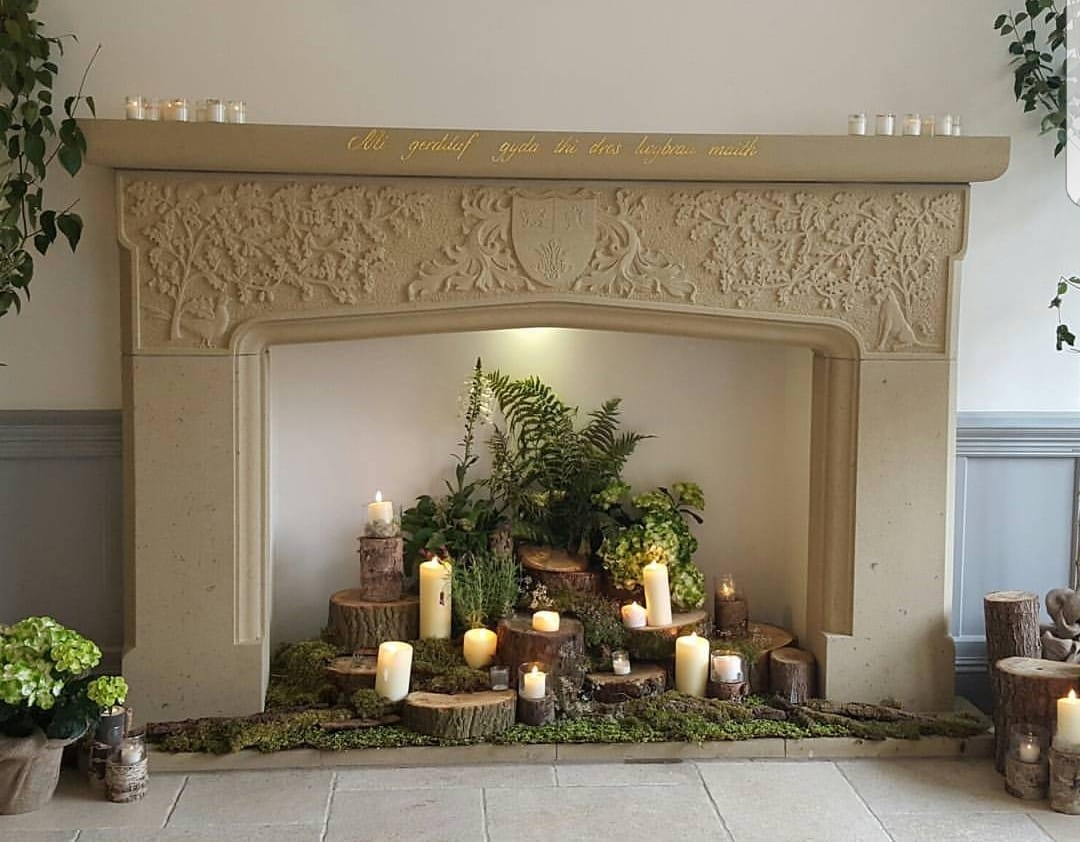 Some of our fire surrounds can be a very simple traditional slate hearth and lime render finish. On the other scale we can design supply and fit our surrounds that can be upwards of 3mtrs high and 6 foot tall. North Wales, North West, Wirral, Liverpool & Cheshire UK