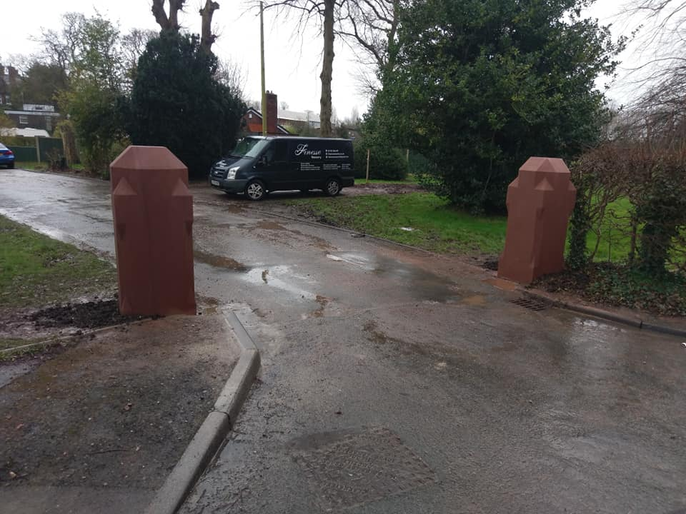 Two gateposts supplied and replaced after lorry damage. These gate posts come in at 1.5 ton each. North Wales, North West, Wirral, Liverpool & Cheshire UK