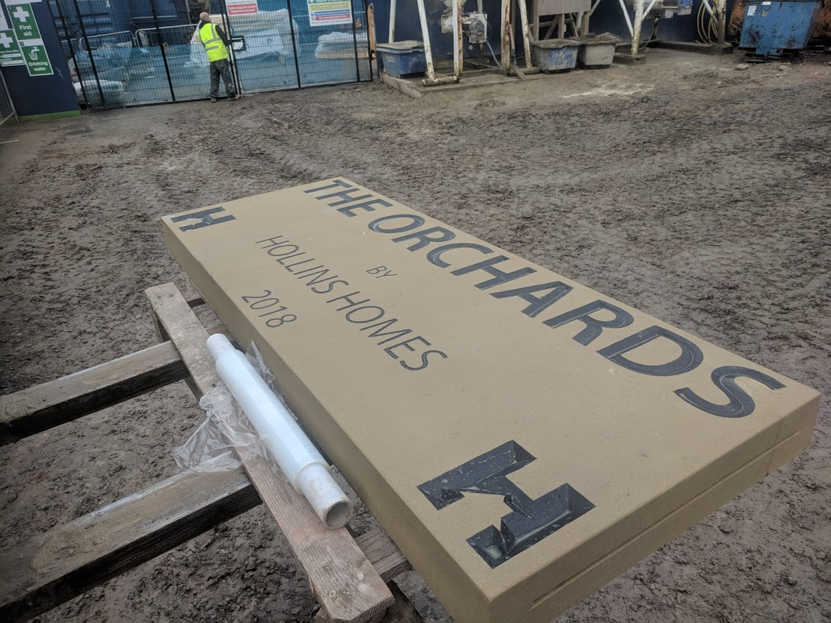 This was a large stone sign produced for a new build site in Cheshire. North Wales, North West, Wirral, Liverpool & Cheshire UK