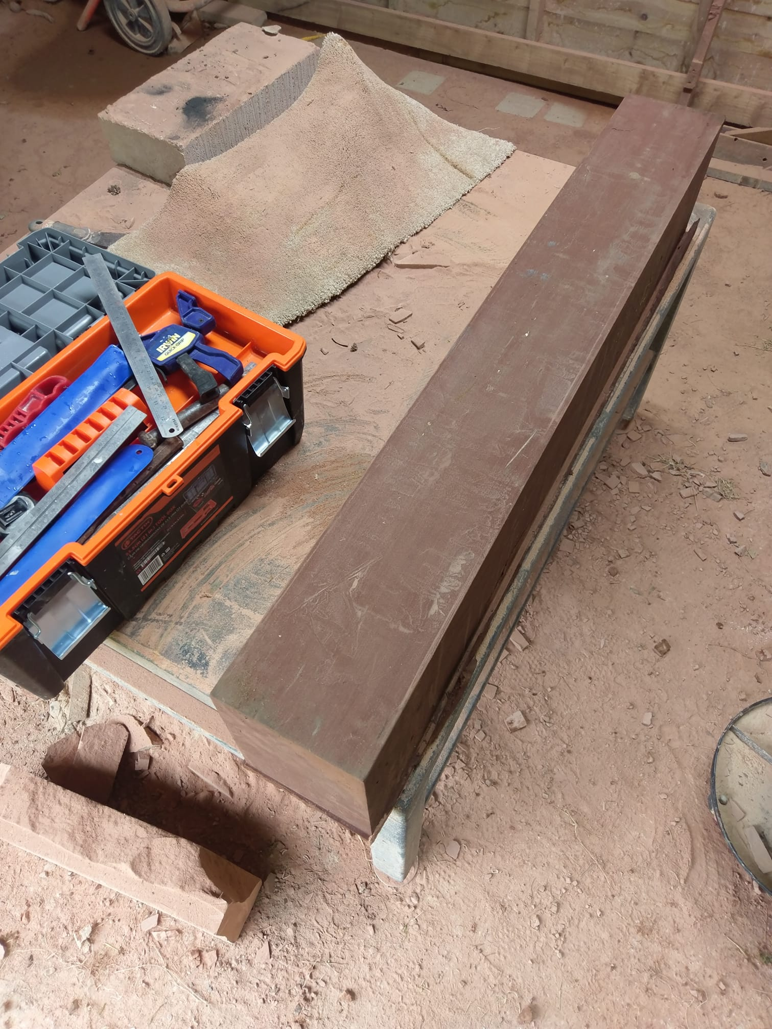 Early morning in the workshop making a red sandstone cill for a renovation in Liverpool. North Wales, North West, Wirral, Liverpool & Cheshire UK